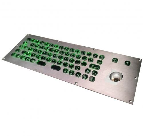 IP66 waterproof stainless steel backlight keyboard with integrated trackball mouse