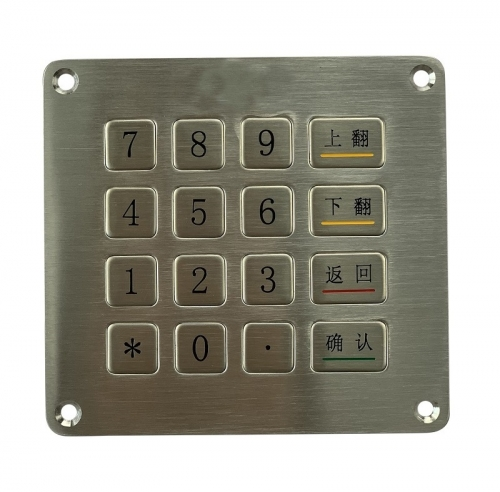 IP66 waterproof stainless steel panel mounted keypad for mining and oil rig