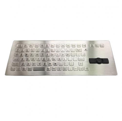 IP66 waterproof stainless steel panel mounted keyboard with integrated rugged joystick mouse.