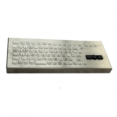 IP66 waterproof stainless steel desktop keyboard with integrated rugged joystick mouse.