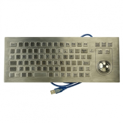 IP66 waterproof stainless steel panel mounted keyboard with integrated trackball mouse