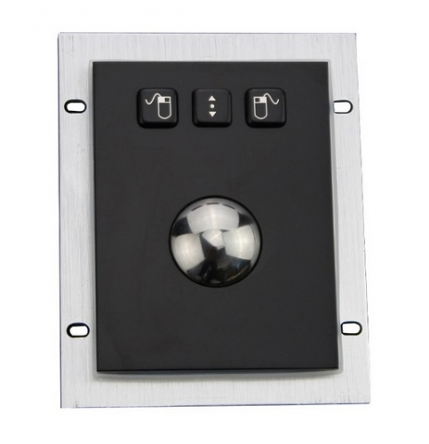 IP66 waterproof black electroplated stainless steel trackball in panel mounted solution