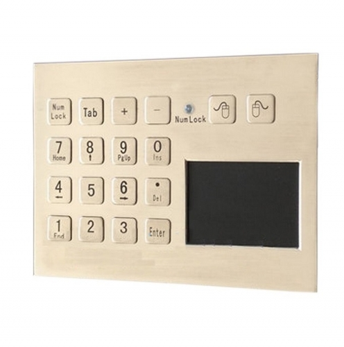IP66 waterproof stainless steel panel mounted touchpad with integrated numeric keypad
