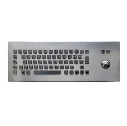 IP65 waterproof desktop stainless steel braille dot layout keyboard with integrated trackball mouse