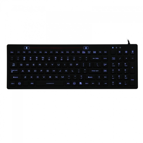IP68 waterproof backlight rugged silicone keyboard