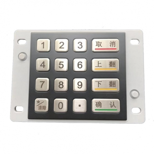 IP66 waterproof stainless steel encryption keypad with black electroplated panel