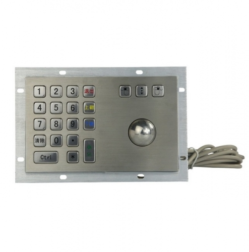 IP65 waterproof stainless steel trackball with integrated numeric keypad