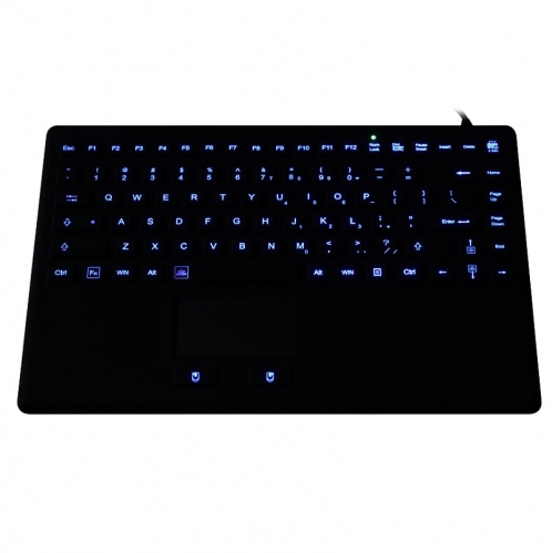 IP68 waterproof backlight rugged silicone keyboard with integrated touchpad mouse