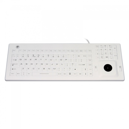 IP67 waterproof silicone keyboard with integrated trackball mouse