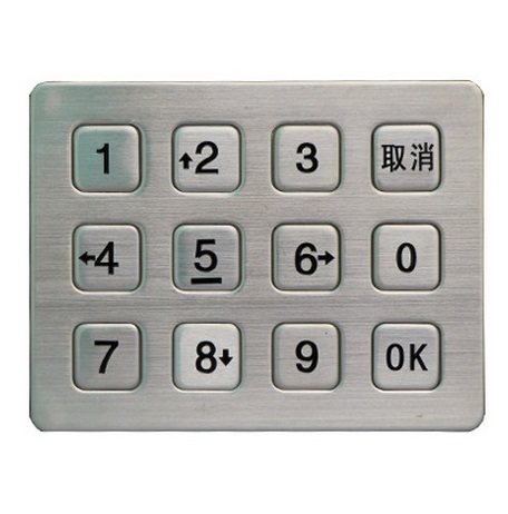 IP65 waterproof stainless steel numeric keypad