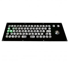IP66 waterproof stainless steel backlight keyboard with integrated trackball mouse in black eletroplated panel