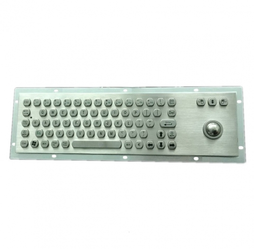IP66 waterproof stainless steel keyboard with integrated trackball mouse