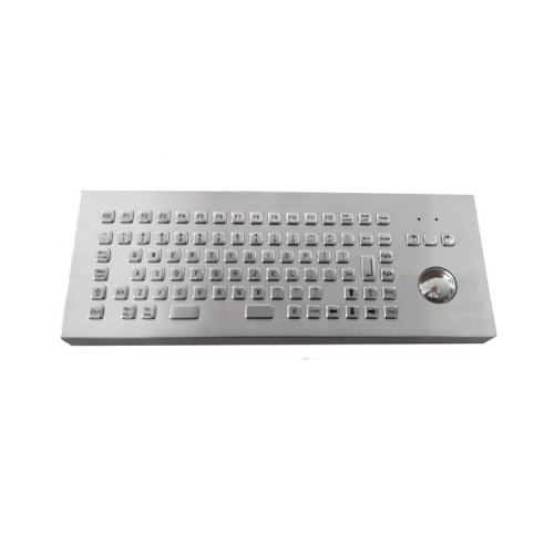 IP65 waterproof stainless steel desktop keyboard with integrated trackball mouse